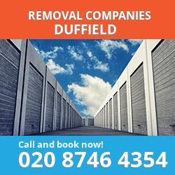 DE56 removal company  Duffield