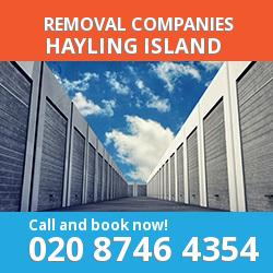 PO11 removal company  Hayling Island