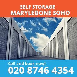 W1 self storage in Marylebone Soho