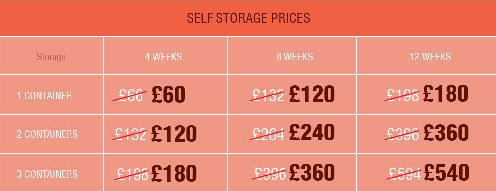 Terrific Prices on Self Storage across SS17 District